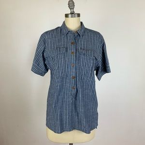 J. Crew Military Popover Shirt in Indigo Pencil